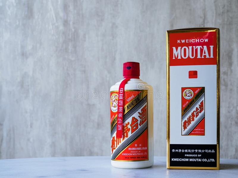 A bottle of Maotai baijiu liqour alongside the original packaging. Maotai is a famous Chinese liqour of much cultural significance stock images