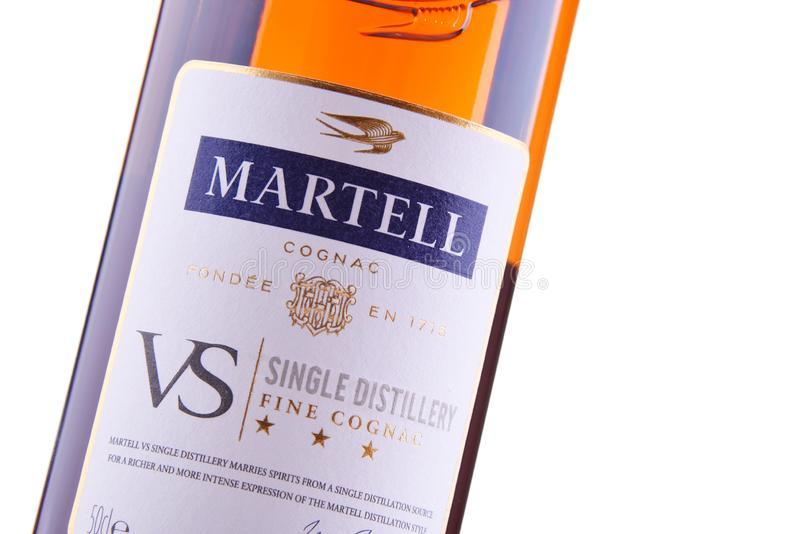 Bottle of Martell Cognac. POZNAN, POL - SEP 27, 2018: Bottle of Martell Cognac, a brand founded in 1715 by Jean Martell, now owned by French wines and spirits royalty free stock image