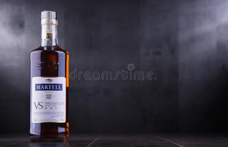 Bottle of Martell Cognac. POZNAN, POL - SEP 27, 2018: Bottle of Martell Cognac, a brand founded in 1715 by Jean Martell, now owned by French wines and spirits stock image