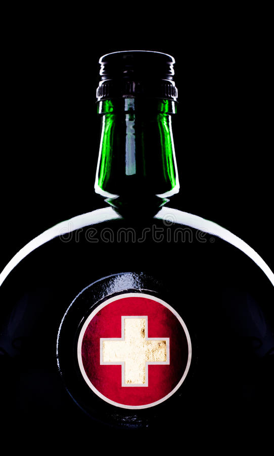 Bottle with medicine. Close-up of round glass bottle with medicine royalty free stock photo
