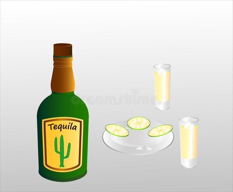 A bottle of a Mexican alcoholic tequila drink, two filled glasses and lime slices on a plate. royalty free illustration