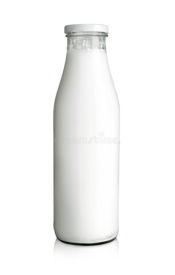 Bottle of milk. Full glass bottle of milk, isolated on white background stock images