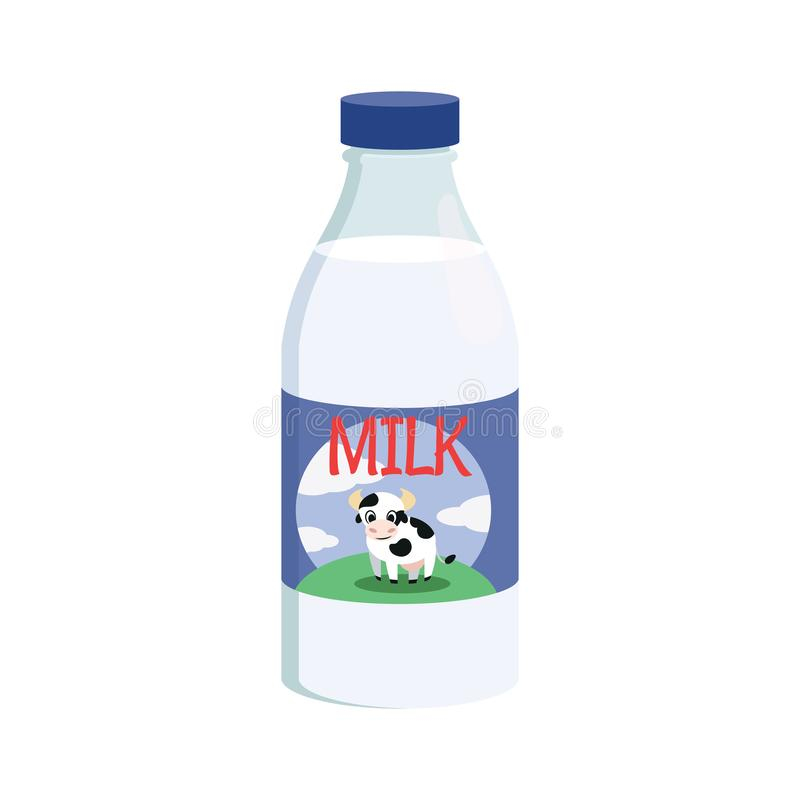 Bottle of milk icon. Illustration of a bottle of milk on a white background vector illustration