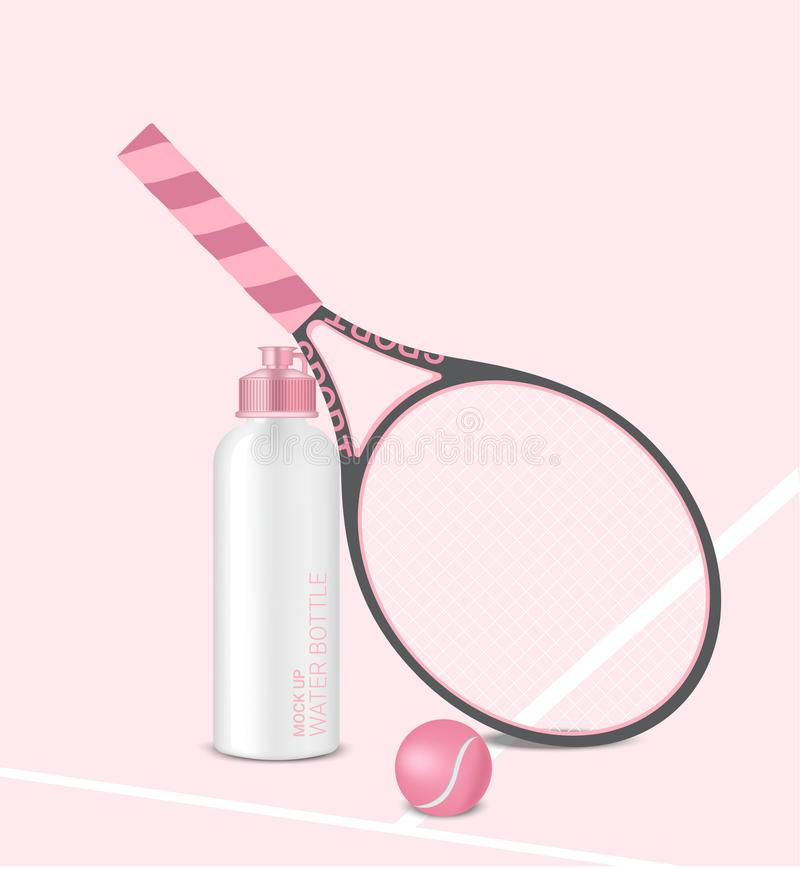 Bottle Mock up 3D Realistic Water Shaker Pastel Pink with Racket  and Tennis Ball Background Illustration. Health Care, drink royalty free illustration