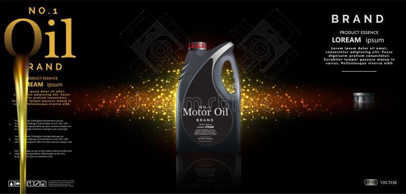 Bottle motor against the background of oil stock illustration