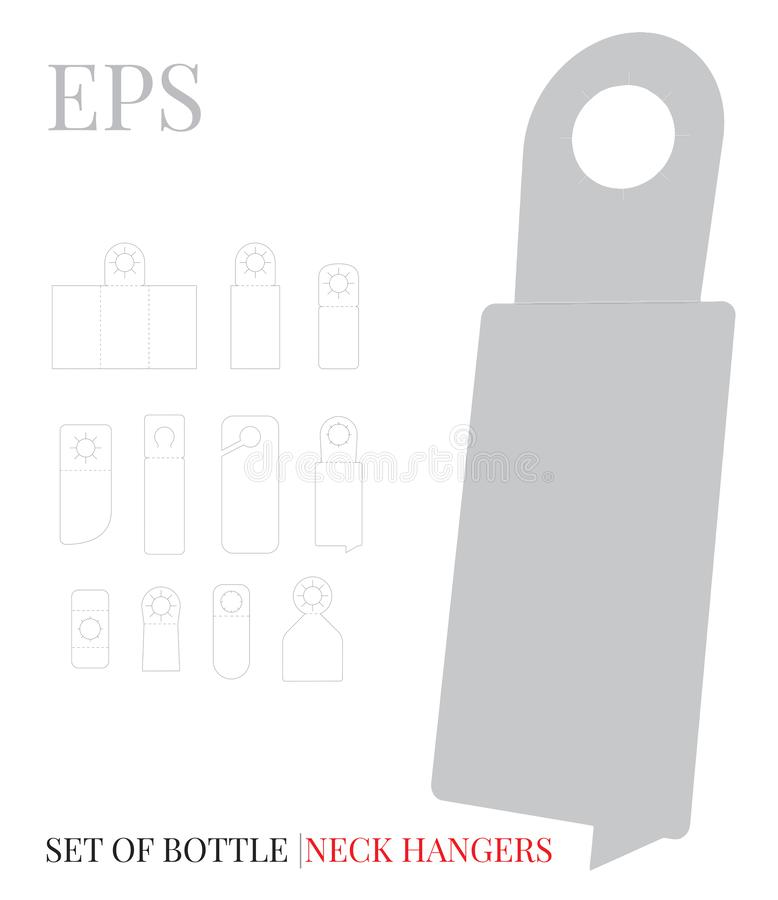 Free Bottle Neck Hanger Template, Vector With Die Cut / Laser Cut Layers. White, Clear, Blank Isolated Mock Up On White Background Royalty Free Stock Images - 148039289
