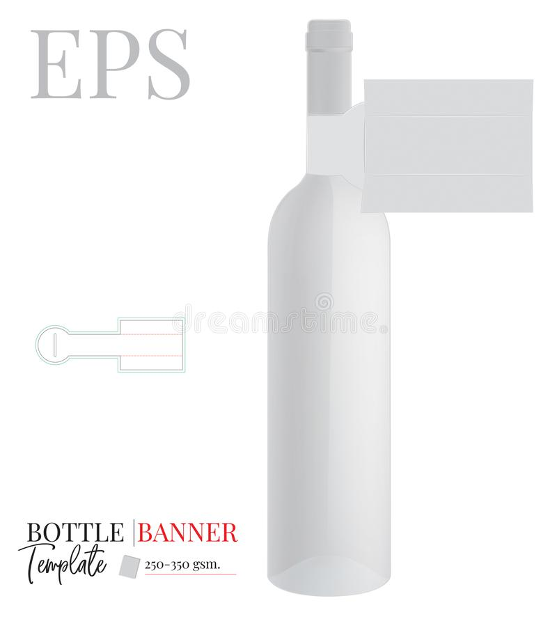Free Bottle Neck Hanger Template, Vector With Die Cut / Laser Cut Lines. Bottle Neck Banner. White, Clear, Blank, Isolated Stock Photography - 157942562