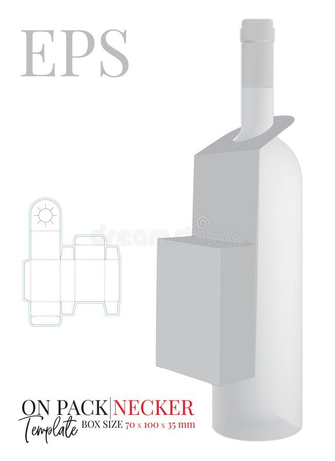 Free Bottle Neck Hanger Template, Vector With Die Cut / Laser Cut Lines. On Pack Neck Hanger. White, Clear, Blank, Isolated Stock Photo - 157942670