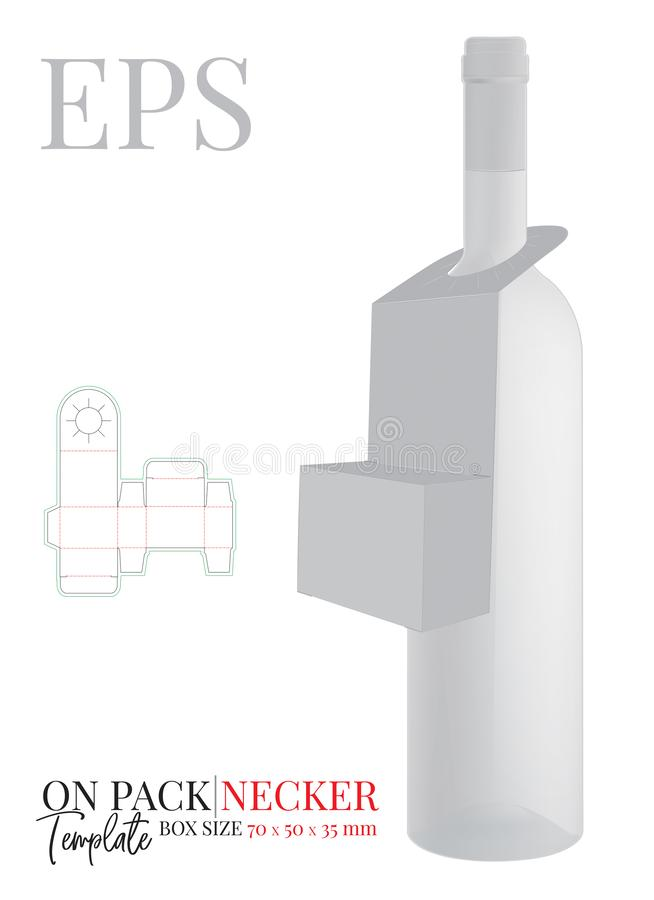 Free Bottle Neck Hanger Template, Vector With Die Cut / Laser Cut Lines. On Pack Neck Hanger. White, Clear, Blank, Isolated Royalty Free Stock Photos - 157942758