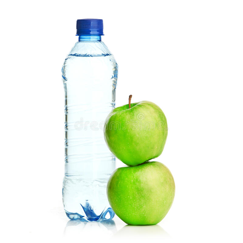 Free Bottle Of Sparkling Water And Green Apple Stock Images - 28885834