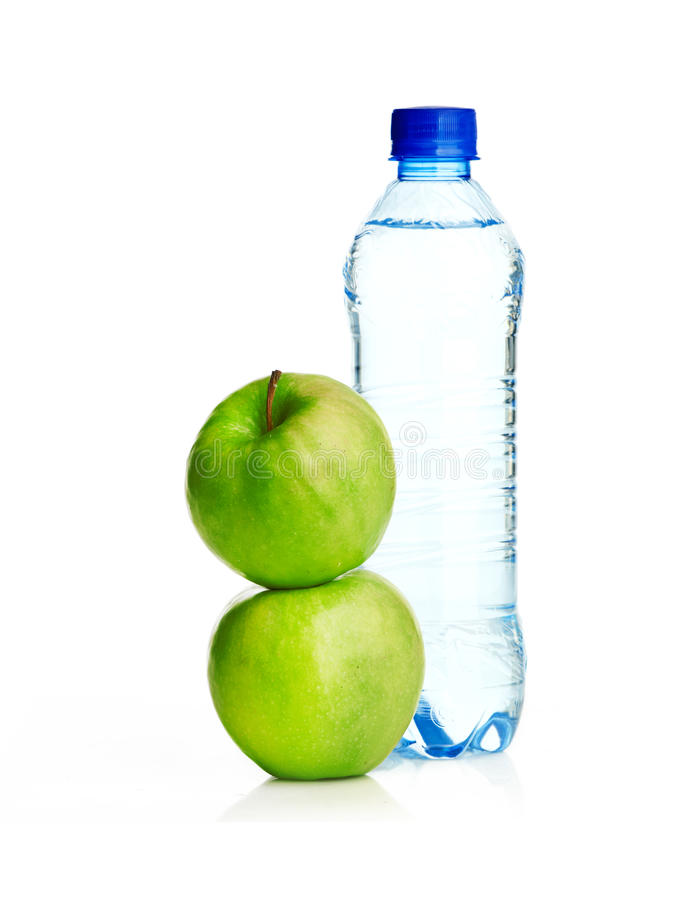 Free Bottle Of Sparkling Water And Green Apple Royalty Free Stock Photo - 29557845