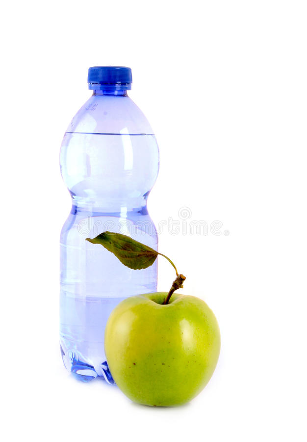 Free Bottle Of Sparkling Water And Green Apple Isolated Stock Photo - 16969680