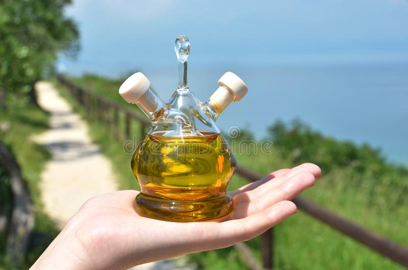 Bottle of olive oil in the olive grove stock photo