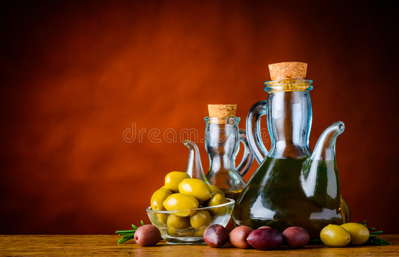 Bottle Olive Oil and Olives and Copy Space royalty free stock photography