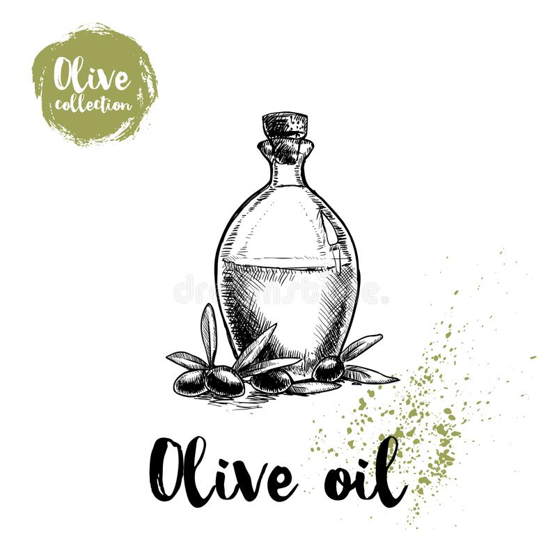 Bottle with olive oil and olives and leaves. Food and cosmetic vector old looking illustration. Ideal for restaurant menu designs stock illustration