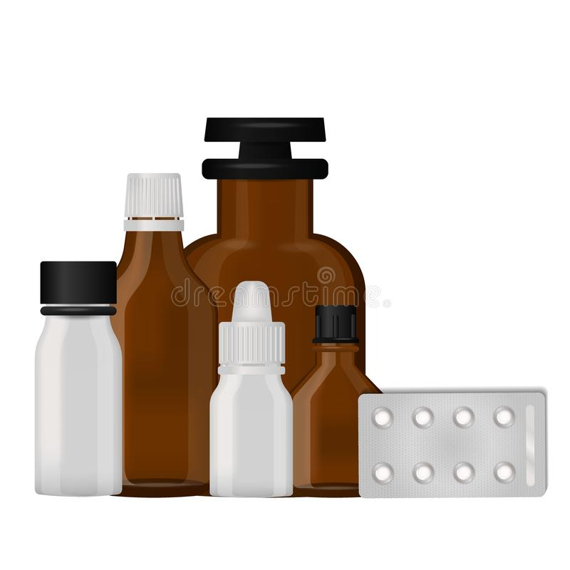 Bottle pack template mockup blank pharmaceutical blister of pills and capsules tube container for drugs clean plastic. Packaging for medication vector stock illustration