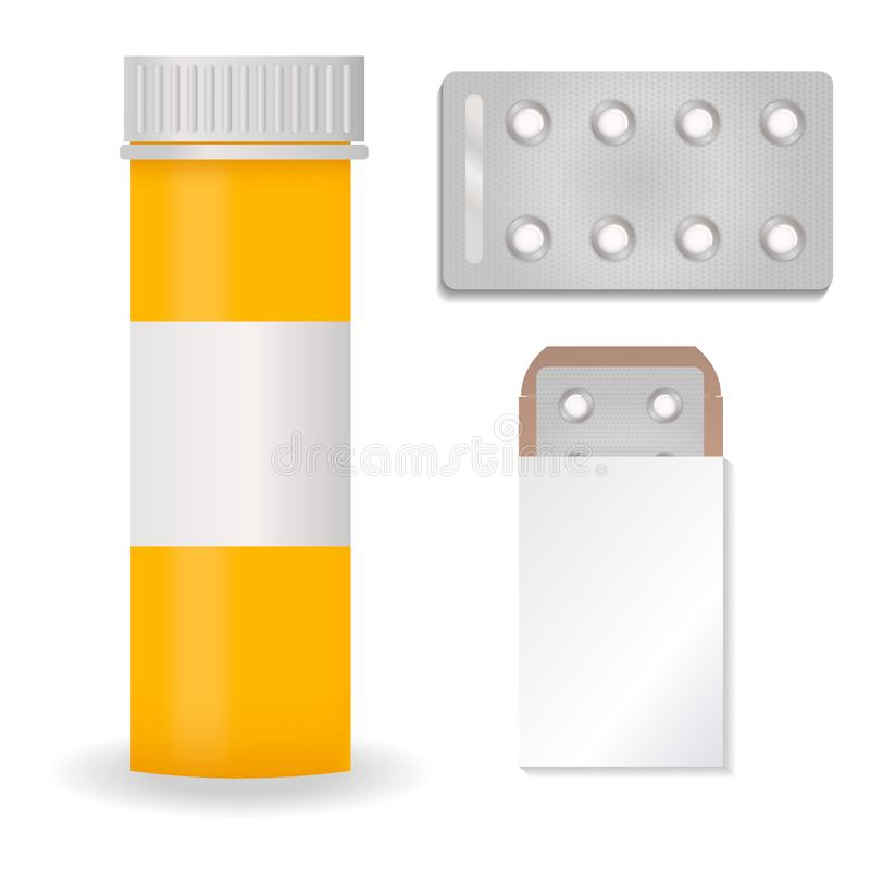 Bottle pack template mockup blank pharmaceutical blister of pills and capsules tube container for drugs clean plastic royalty free illustration