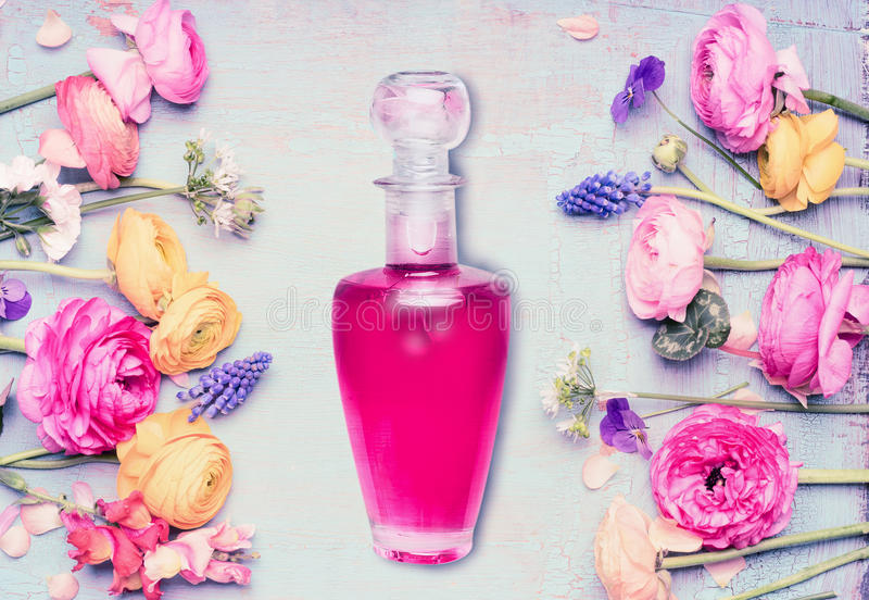 Bottle of perfume and flowers at shabby chic background, top view. Floral cosmetic and beauty stock photography