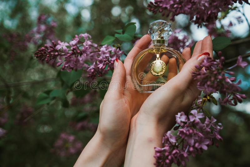 A bottle of perfume in the hands of a girl royalty free stock images