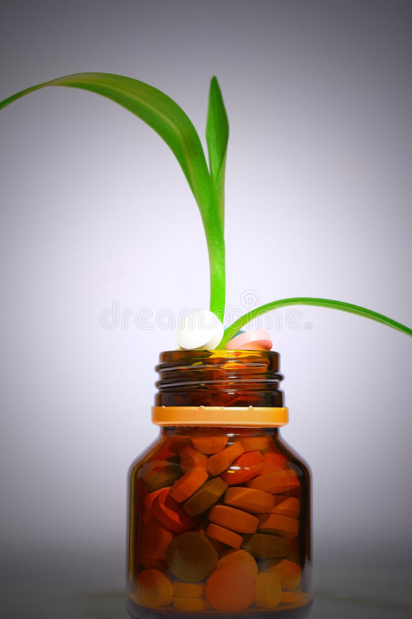 Bottle of pills with growing plant royalty free stock photography