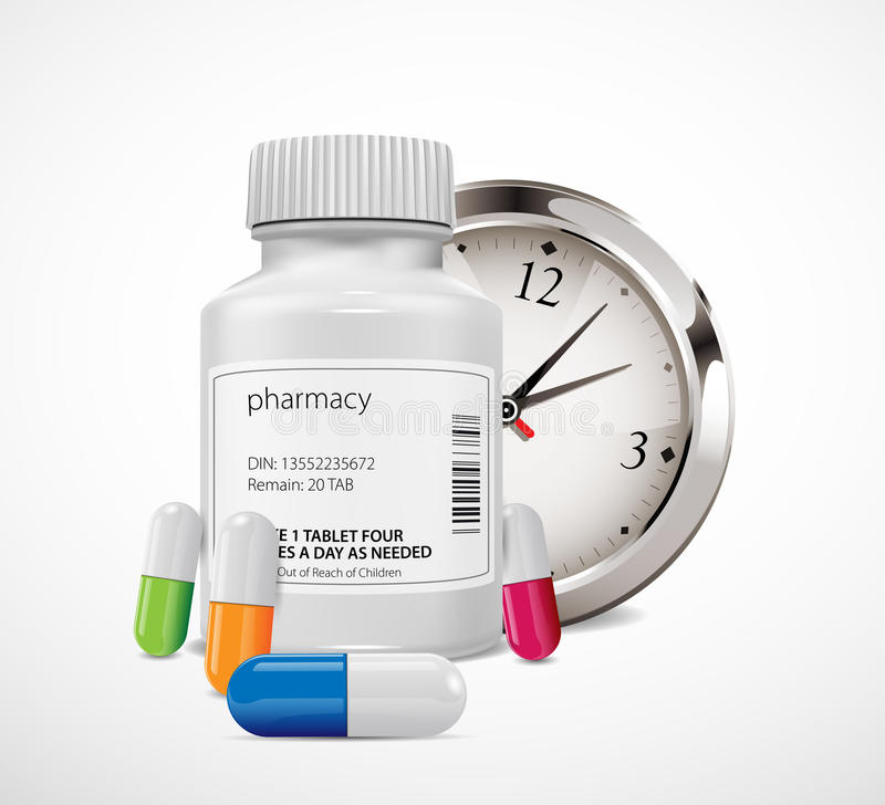 Bottle, pills and time stock illustration