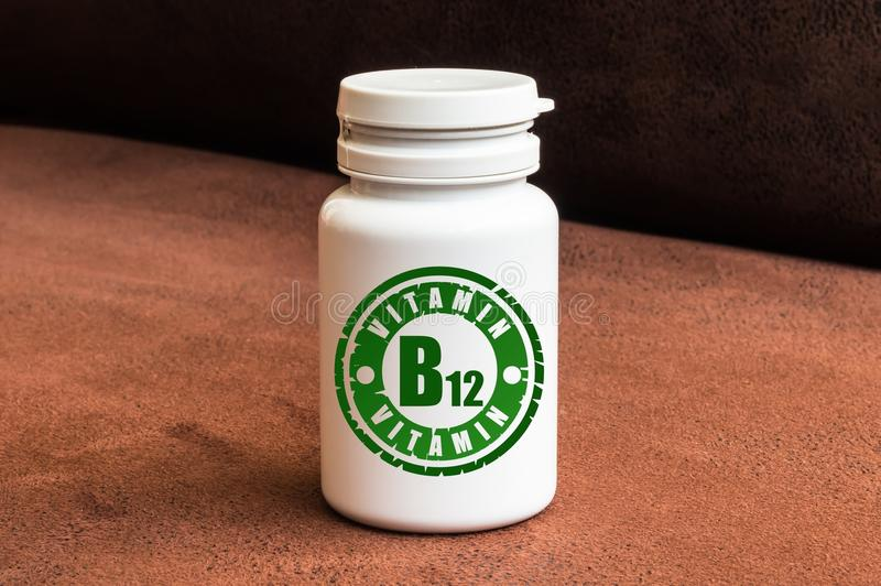 Download Bottle Of Pills With Vitamin B12 Stock Photo - Image: 79007246