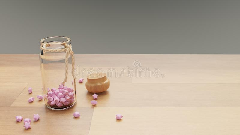 A bottle of pink paper crafting stars caps opened. With space on right royalty free illustration