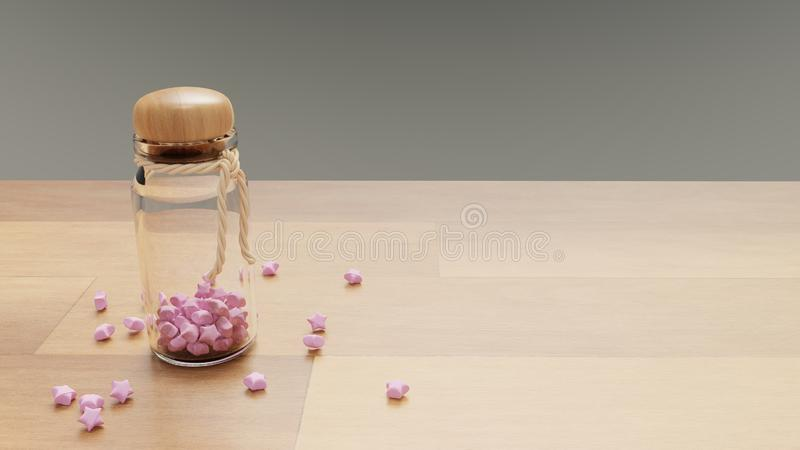 A bottle of pink paper crafting stars. With space on right royalty free illustration