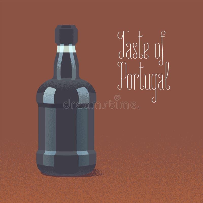 Bottle of porto wine vector illustration. Design element with traditional Portuguese wine for poster vector illustration