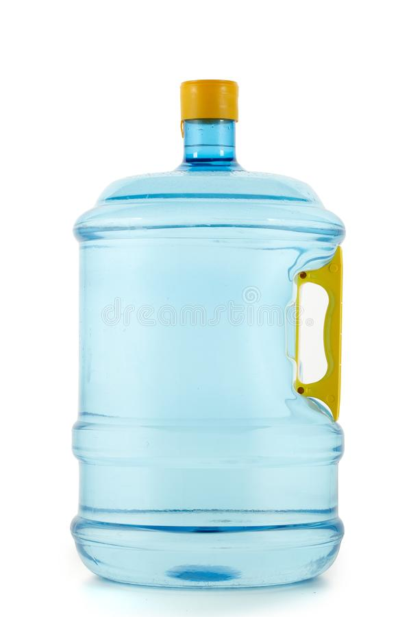 Bottle with potable pure water. Big plastic water bottle isolated on white background. Fresh purified water in bottle for cooler. Potable pure water stock photo