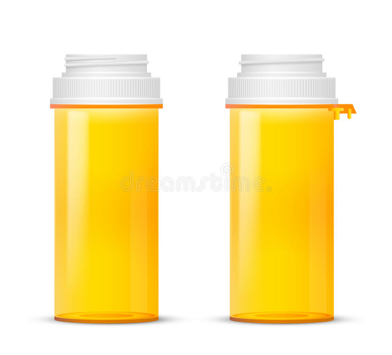 Bottle. Of of prescription pill with labels template, Vector illustration stock illustration