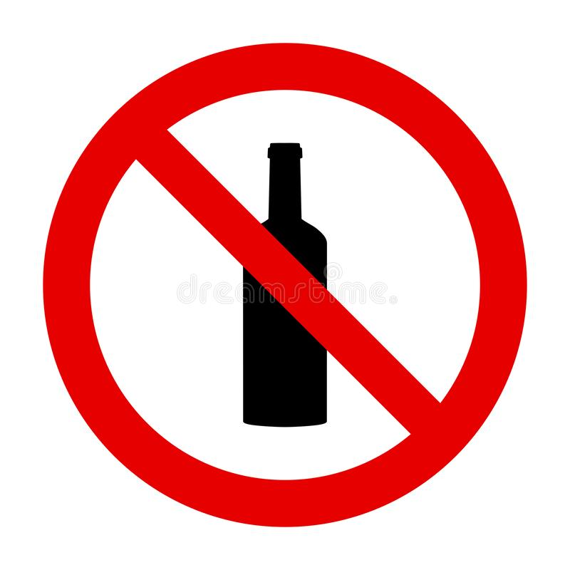 Bottle and prohibition sign. As vector illustration royalty free illustration