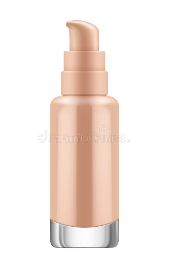 Bottle with pump for foundation. 3D realistic transparent bottle with pump for foundation cream. Mock-up of glass container with dispenser. Blank template of royalty free illustration