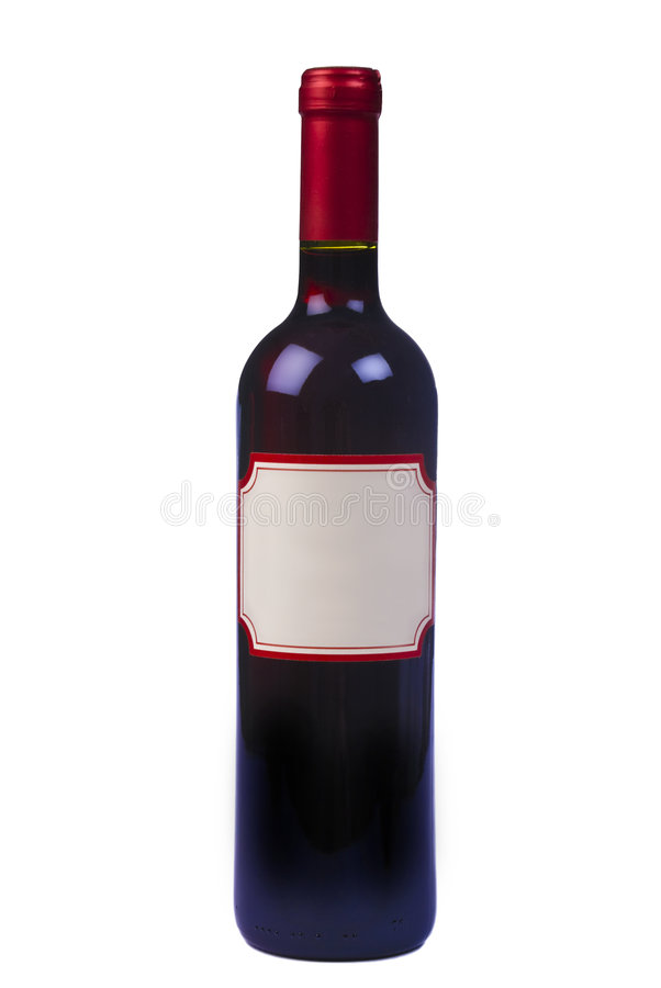 Bottle of quality red wine with blank label royalty free stock photography