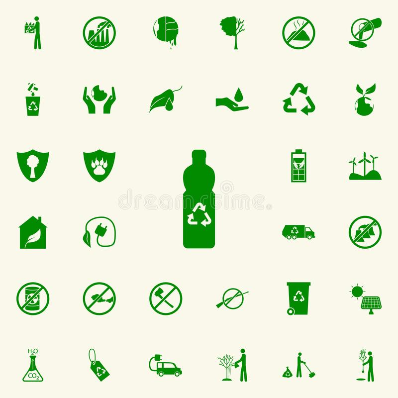 Bottle recycling green icon. greenpeace icons universal set for web and mobile. On colored background vector illustration