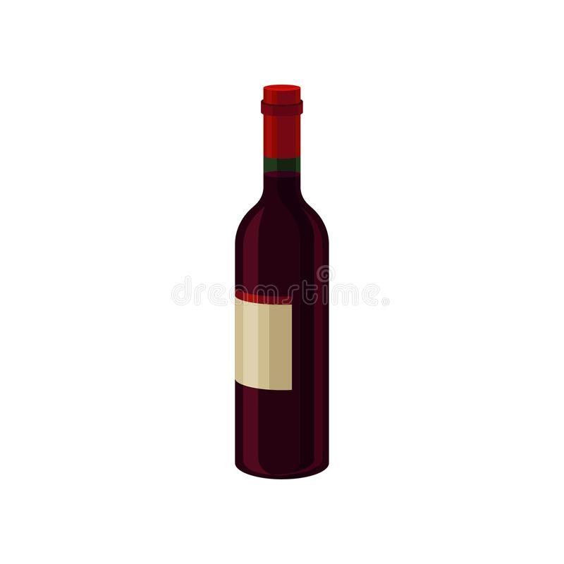 Bottle of red dry wine with label. Alcoholic beverage. Flat vector element for promo poster or banner of liquor store royalty free illustration