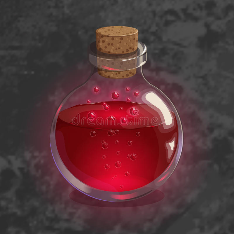Bottle with red potion. Game icon of magic elixir. Bright design for app user interface. Bottle with red potion. Game icon of magic elixir in cartoon style vector illustration