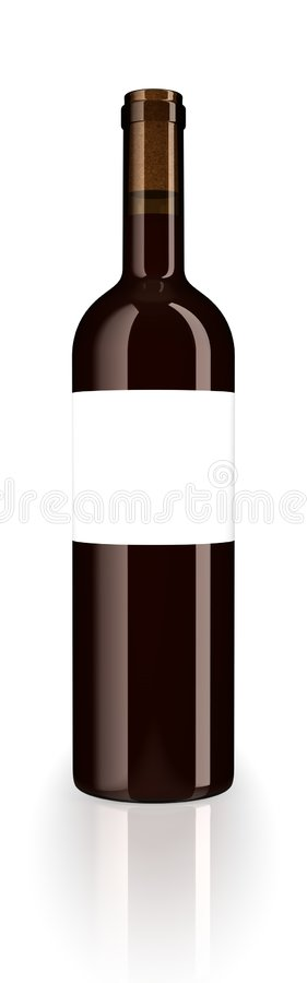 Bottle red wine. A closed glass bottle of red wine with blank label isolated on white studio background vector illustration