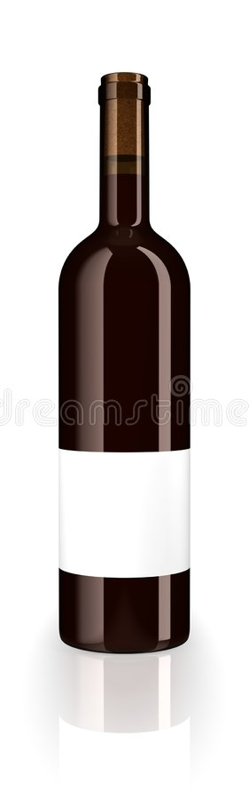 Bottle red wine. A closed glass bottle of red wine with blank label isolated on white studio background royalty free illustration