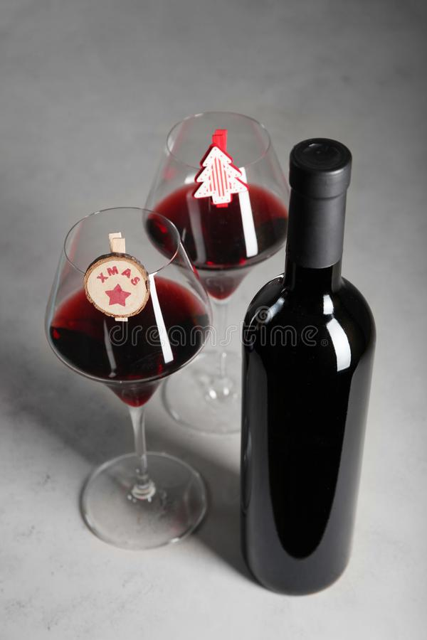 Bottle of red wine as a Christmas present. Festive feast royalty free stock images