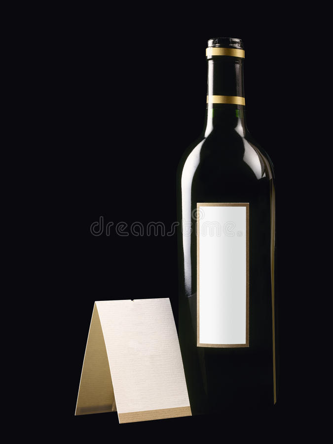 Bottle With Red Wine And Blank Card Royalty Free Stock Images