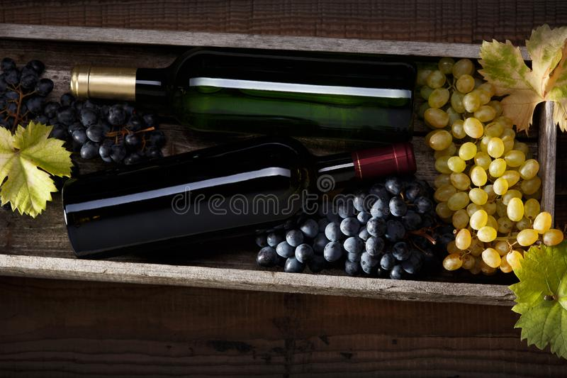 A bottle of red wine and a bottle of white wine, black grapes and white grapes with grape leaves on an old wooden table. Dark royalty free stock photo