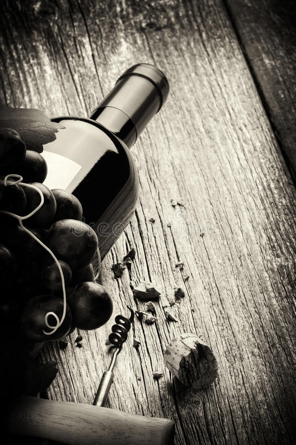 Bottle of red wine with fresh grape and corkscrew stock photo