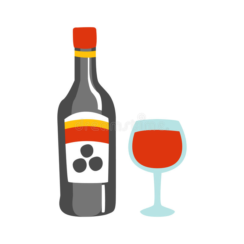 Bottle Of Red Wine And A Glass Of Alcohol Drink Primitive Cartoon Icon, Part Of Pizza Cafe Series Of Clipart. Illustrations. Vector Simplified Clip-Art Drawing royalty free illustration