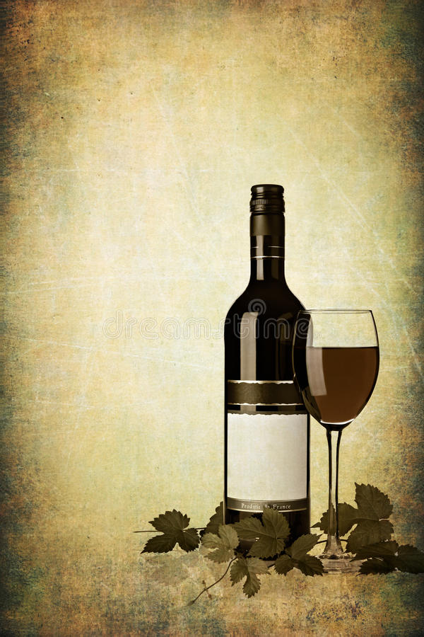 Download Bottle Of Red Wine With Glass On Grunge Textured Stock Image - Image: 19339663