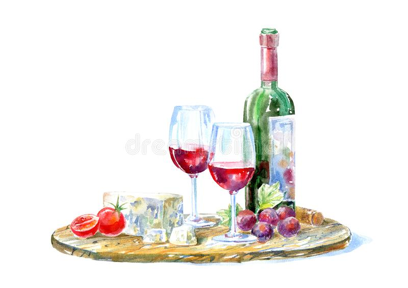 Bottle of red wine, glasses,cheese,cherry tomato and grapes on a wooden board. Picture of a alcoholic drink.Beverage and snack.Watercolor hand drawn stock illustration