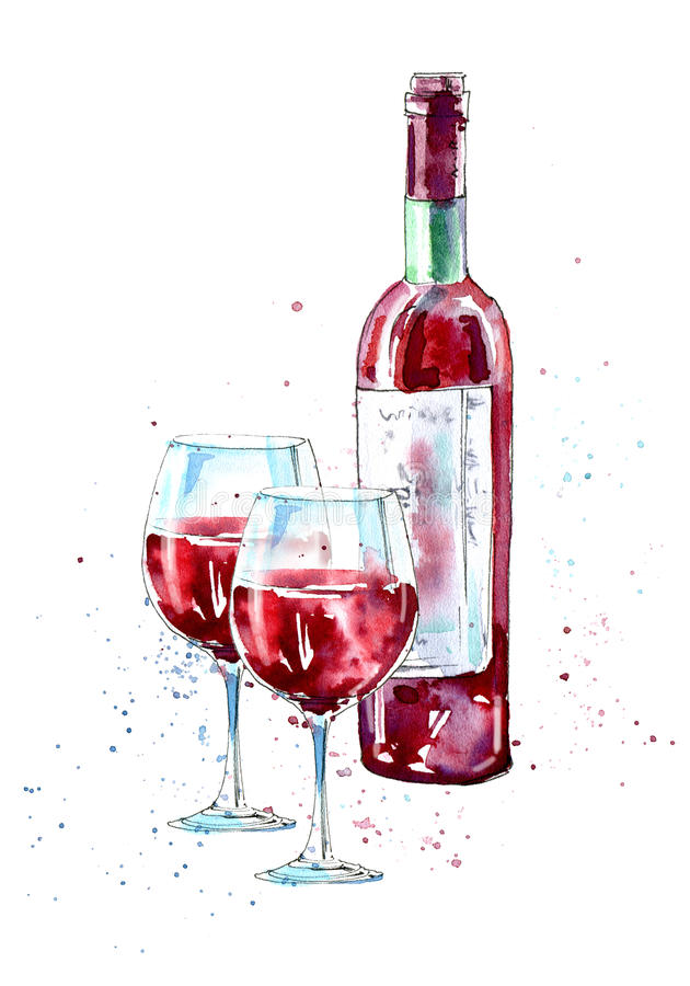 Bottle of red wine and glasses. stock illustration
