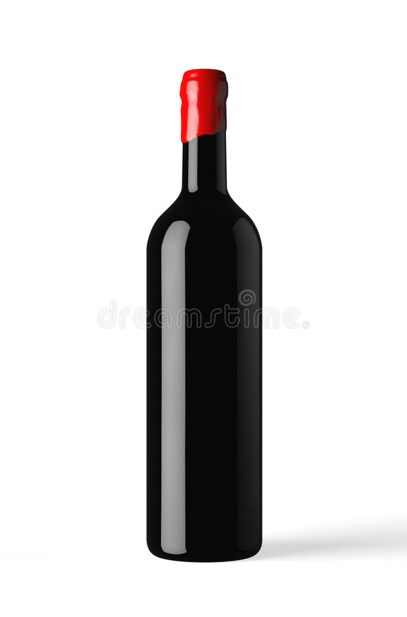 Bottle of red wine isolated with wax capsule royalty free stock photo