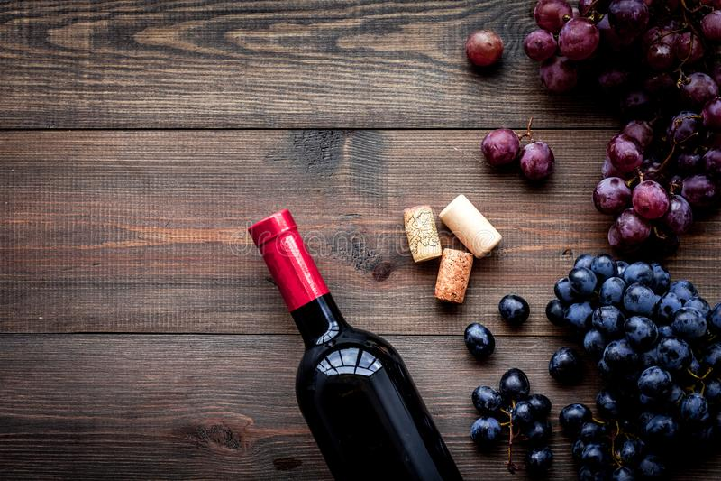 Bottle of red wine near bunch of grapes on dark wooden background top view copyspace stock image