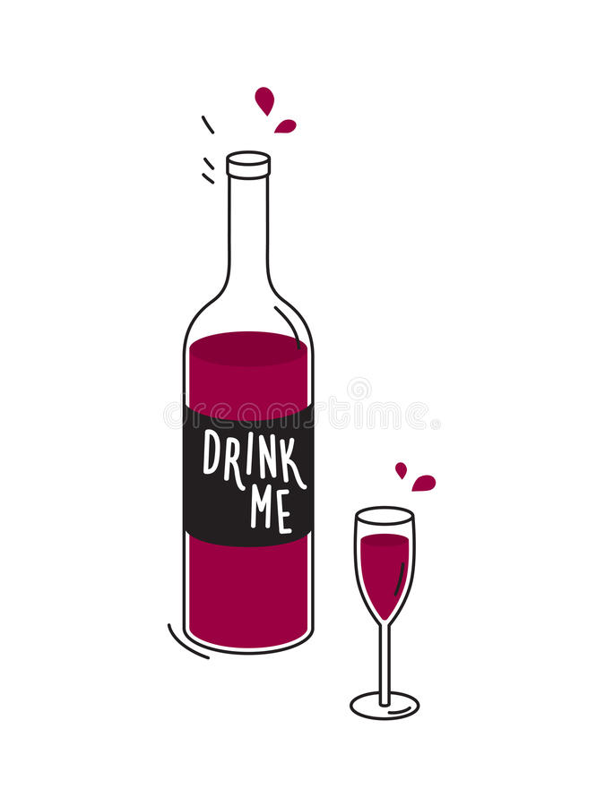 Bottle of red wine and wineglass. Drawing stock illustration